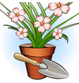 garden shovel and window plant vector image vector image