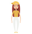 girl with yellow cap on white background vector image vector image
