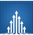 graph arrows blueprint background vector image