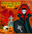 halloween night party poster with horror vampire vector image vector image