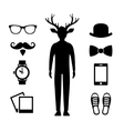 Hipster Icons Set with Deer Man Silhouette vector image vector image