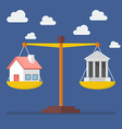House and Bank balance on the scale vector image