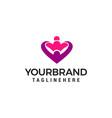 hug love heart logo design concept template vector image