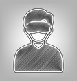 man with sleeping mask sign pencil sketch vector image vector image