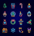 merry christmas neon icons vector image