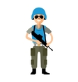 Peacemaker in blue helmet Flat style vector image vector image