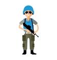 Peacemaker in blue helmet Flat style vector image