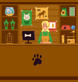 pet shop with seller and counter with pet care vector image