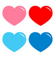 pink red blue heart shining icon set happy vector image vector image