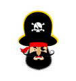 pirate angry emoji head filibuster evil emotion vector image