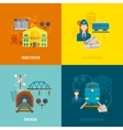 Railway Flat Set vector image