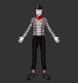 sad mime costume 3d realistic vector image vector image