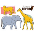 Safari Animals Retro Style vector image