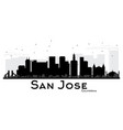 san jose california city skyline black and white vector image vector image