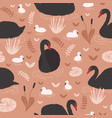 seamless pattern with black swans and brood of vector image vector image