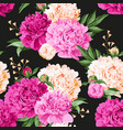 seamless varicolored peonies vector image vector image