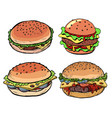 set collection burger hamburger cheeseburger vector image