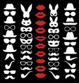 set hats glasses masks lips and moustaches vector image vector image