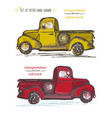 set of hand-drawn red and yellow trucks ink brush vector image
