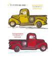 Set of hand-drawn red and yellow trucks ink brush