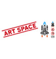 space shuttle mosaic and scratched art vector image vector image
