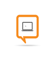 square orange speech bubble with laptop icon vector image