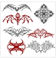 Tattoo set in tribal style on white background vector image vector image