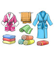 towels and bathrobes set vector image vector image