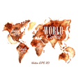 Traces Coffee World Map vector image vector image