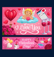 valentines day cupid hearts rose flowers ring vector image vector image