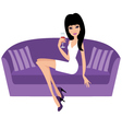 young woman with a wine glass sits on a sofa vector image vector image