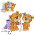 a brown teddy bear tailor vector image vector image