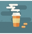 Background with coffee cup and macaroons vector image