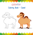 Camel coloring book educational game vector image vector image