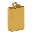 cartoon brown paper bag with handles vector image vector image