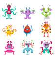 cartoon monsters character set vector image vector image