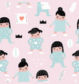 childish seamless pattern with girls in pajamas vector image vector image