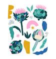collage contemporary stylized artichoke vector image