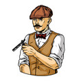 colorful vintage concept mustached barber vector image vector image