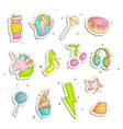 cute funny girl teenager colored stickers set vector image vector image