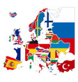 detailed silhouettes europe countries with vector image