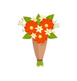 festive gift bouquet of ivory and red flowers in vector image vector image