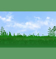 flat plain with grass and few trees on it and vector image