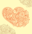 floral decorative heart doodle vector image vector image
