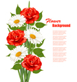 Flower Background With White Daisy and Red Roses vector image vector image