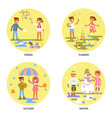 four seasons set with babies vector image vector image