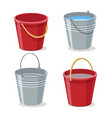 full and empty gardening buckets vector image vector image