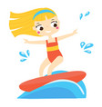 girl in red swimsuit surfing on board vector image