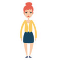 girl in yellow blouse on white background vector image vector image