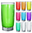 Glasses with multicolored drinks vector image vector image